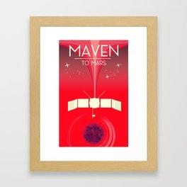 MAVEN - to Mars space art. Framed Art Print