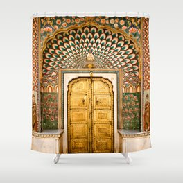 Lotus gate door in pink city at City Palace of Jaipur, India Shower Curtain