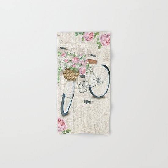 White bike & roses Hand & Bath Towel