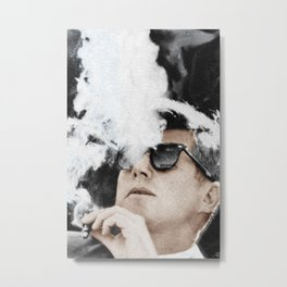 Cigar Smoker Cigar Lover John F Kennedy Gifts Black And White Photo Tees Metal Print