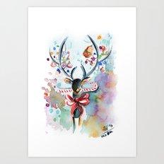 Candycane Reindeer Art Print