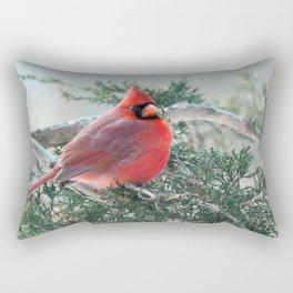 Red on Red (Northern Cardinal) Rectangular Pillow