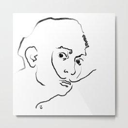 Ink Drawing Portrait - Salvador Dali Metal Print