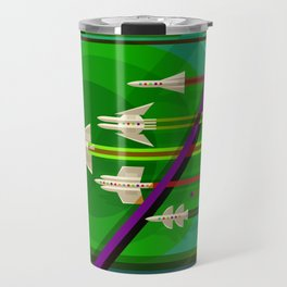 NASA Outer Space Saturn Shuttle Retro Poster Futuristic Explorer Travel Mug