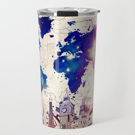 world map city skyline galaxy 2 Travel Mug