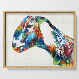 Colorful Goat Art By Sharon Cummings Serving Tray