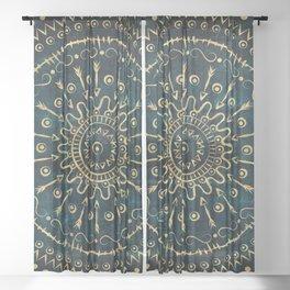 Geometric tribal gold mandala Sheer Curtain