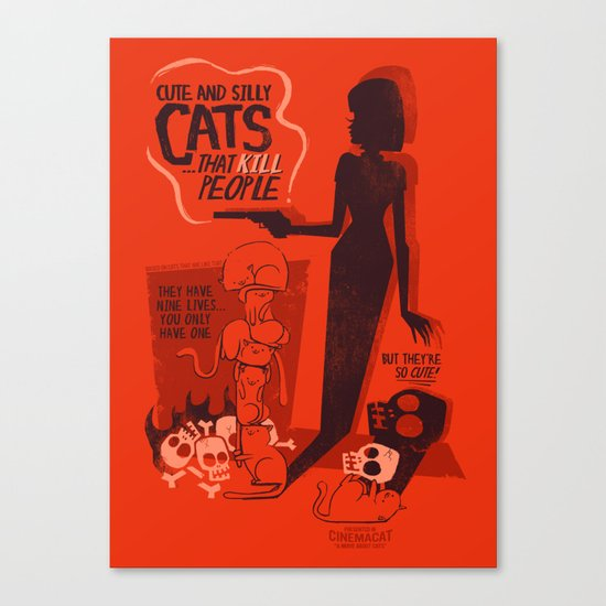 Cat Movie - orange Canvas Print