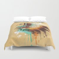 native american Duvet Covers featuring Native American Girl by TapuTIKI