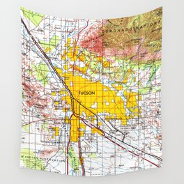 Tucson Arizona old vintage map year 1956 Wall Tapestry