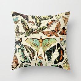 French Vintage Butterflies Chart Adolphe Millot Papillons Larousse Pour Tous Poster  Throw Pillow