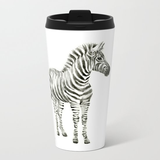 Zebra Watercolor Baby Animals Metal Travel Mug