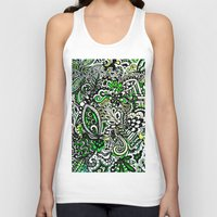 green pattern Tank Tops featuring Green Pattern by Marcela Caraballo