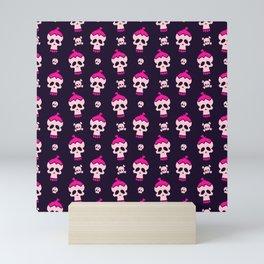 Pink Skulls Pattern Mini Art Print