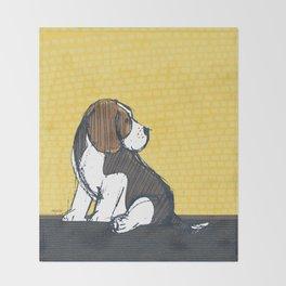 Beagle Puppy Portait by Friztin Throw Blanket
