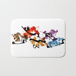 Typographic Number illustrations, watercolor,  3,4,5,7,9 by carographic Bath Mat