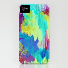 SUGARY GOODNESS - Lovely Cotton Candy Sweet Dreams Colorful Rainbow Abstract Chevron Ikat Painting Slim Case iPhone (4, 4s)