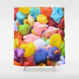 Rainbow Rubber Ducks Shower Curtain