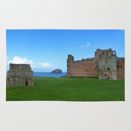 Bass Rock from Tantallon Castle, North Berwick, Scotland Rug