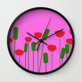 Poppies in pink Wall Clock
