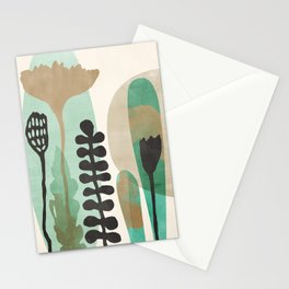 Abstract Botanical - Sea Green Stationery Cards