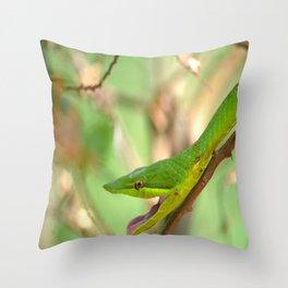 Green Vine Snake Throw Pillow