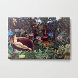The Dream by Henri Rousseau 1910 // Jungle Lion Flowers Native Female Laying Colorful Landscape Metal Print