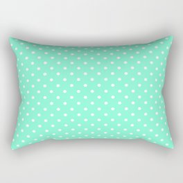 Dots (White/Aquamarine) Rectangular Pillow