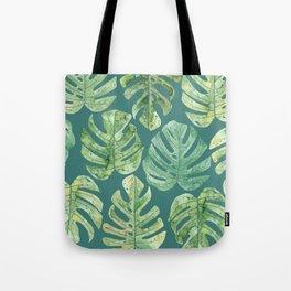 Jungle leaves Monstera leaves Palm leaves Tropical Tote Bag
