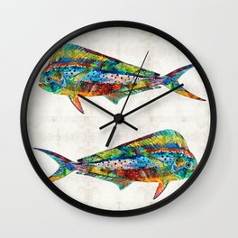 Colorful Dolphin Fish by Sharon Cummings Wall Clock
