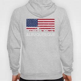 Albuquerque NM American Flag Skyline Distressed Hoody