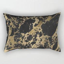 Modern faux gold glitter black marble Rectangular Pillow