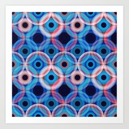 Circles | Blue and soft pink Art Print