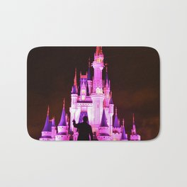 Cinderella's Castle featuring the statues of Walt & Mickey at the end of main street USA Bath Mat
