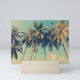 ALOHA - vintage tropical palm trees on the beach Mini Art Print