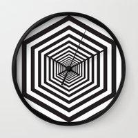 hexagon Wall Clocks featuring Hexagon by Vadeco