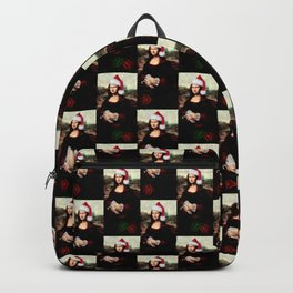 Mona Lisa Wearing a Santa Hat Backpack