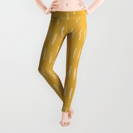 Raindrop Abstract Boho Pattern, Yellow Leggings