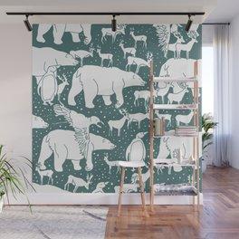 Polar gathering (emerald) Wall Mural