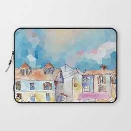 Colorful street in old town under abstract sky Laptop Sleeve