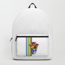 Colorful Cool Hip Skull with flowers Backpack