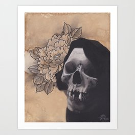 Realism Drawing of Reaper with Traditional Tattoo Styled Peony Art Print