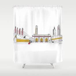 Kansas City Skyline Illustration In KC Football Colors Shower Curtain