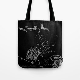 Two Tailed Duck and Jellyfish Black and Dark Deep Sea Tote Bag