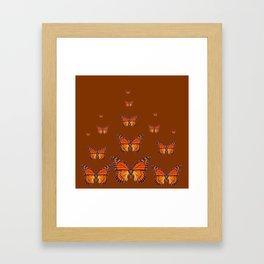 ORANGE MONARCH BUTTERFLIES COFFEE BROWN Framed Art Print
