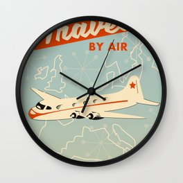 """1950s style """"by air"""" travel poster print. Wall Clock"""