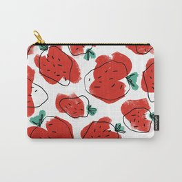 Modern Artsy Watercolor Red Mint Green Black Strawberries Carry-All Pouch
