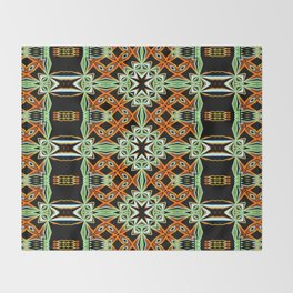 African Orange Pattern - Tribal Vibes Collection Throw Blanket