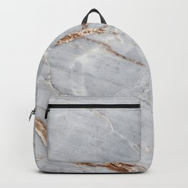 Light Gray Marble With Gold Backpack