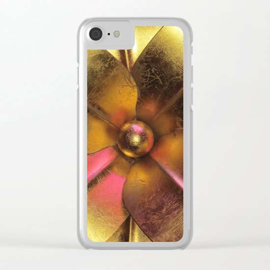 Gold Flower Clear iPhone Case